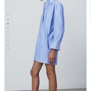 Zara M blue oversized denim look jumpsuit shorts
